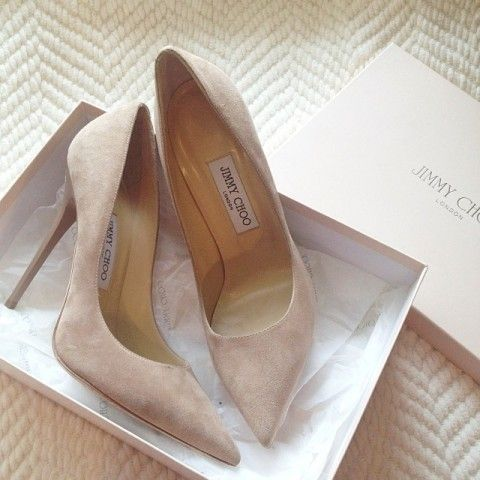 Jimmy Choo Nude Suede Pumps   Spotted on @Gretchen Schaefer Schaefer Schaefer Metzger Every woman must have