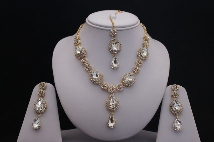 GOLD CLEAR INDIAN COSTUME JEWELLERY NECKLACE EARRINGS CRYSTAL SET