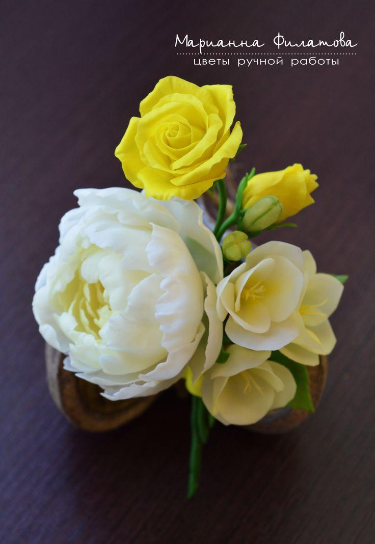 handmade flowers . cold porcelain. boutonniere