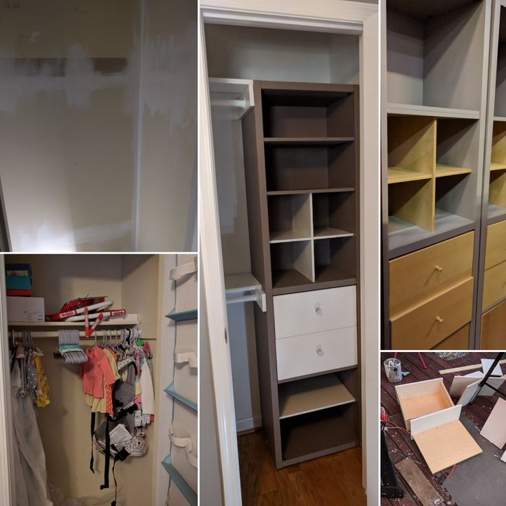 Converted a single rod and shelf closet in the nursery to a functional closer for under $75. Took an old IKEA CD storage unit from the Habitat for Humanity Restore, painted certain shelves the same white as the trim, and used leftover lumber from the old closet to make the rods and shelves.