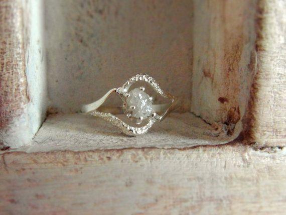bague de diamants bruts promesse