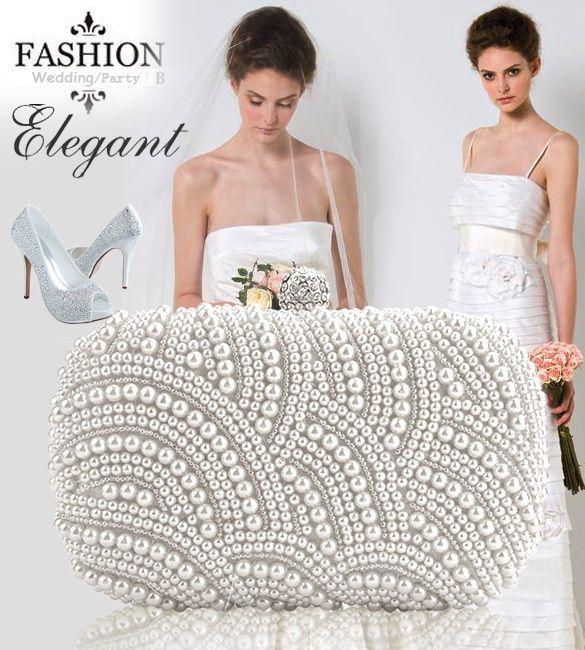 New&HOT Women Clutch Bag Pearl Beaded Party Bridal Handbag Wedding Evening Purse #PeachFashion #ClutchBags