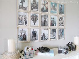 DIY:  How to Make this Coastal Themed Photo Wall Display - budget friendly art display using light-weight frames and rope, glued to foam core  - via Hymns and Verses