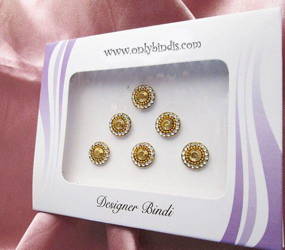Adorable Gold & Crystal Round Bindis. by BindiStoreUSACANADA, $10.99