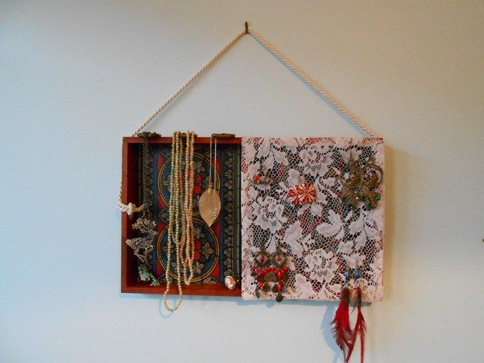 My first project! Upcycled wooden tray to hanging jewellery box.