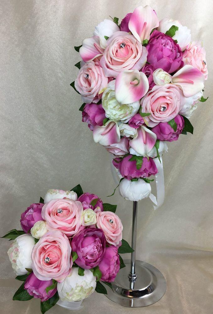 Artificial Flower Pink Rose/Calla Lilies/Cream/Pink Peonies Wedding Bouquet Set