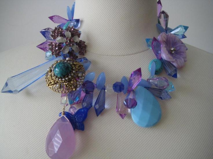 Purples, blues, torquoise necklace. Fierce jewels