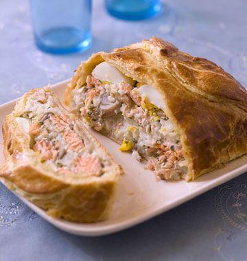 Koulibiac (feuilleté russe au saumon), la recette d'Ôdélices : retrouvez les ingrédients, la préparation, des recettes similaires et des photos qui donnent envie !