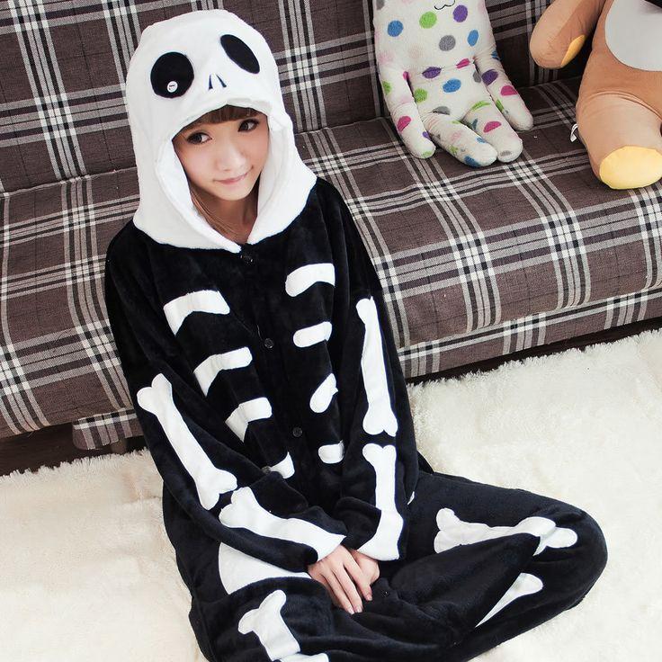 Flannel family animal pajamas one piece onsies onesies cosplay squelette esqueleto skeleton pajamas pijamas enteros de animales