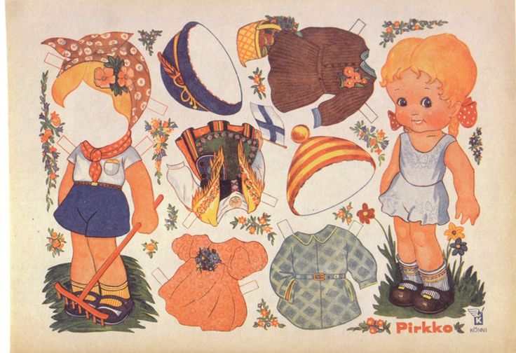 gardening paper doll from Finland: