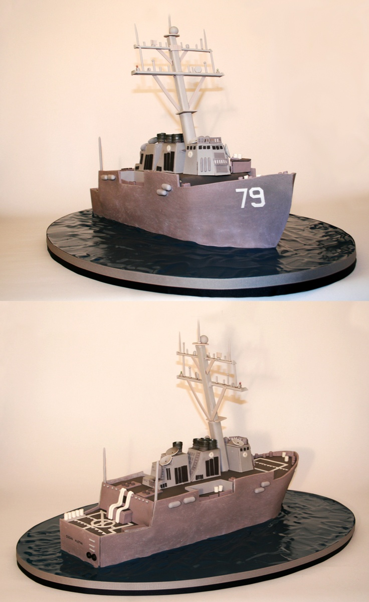 Navy Ship Cake by Charm City Cakes - As this frigate sails the vast ocean, it's searching for its next battleship to sink!