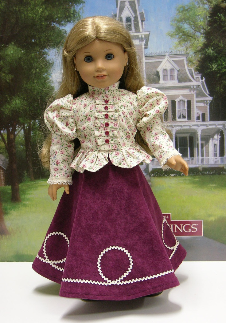 Victorian Garden- Victorian style blouse and full riding skirt for American Girl. $50.00, via Etsy.