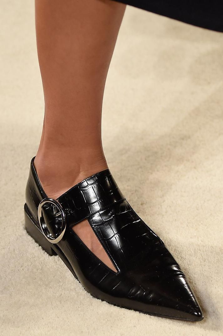 Victoria Beckham crocodile patent leather flats   The Best Shoes From NYFW Fall 2016 @stylecaster