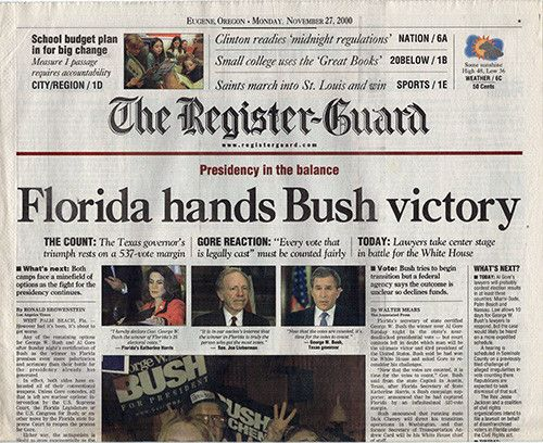 Nov 27 2000 Presidential Election Newspaper Florida Hands Bush Victory - Section A