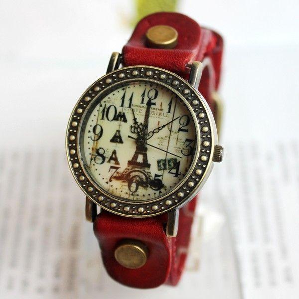 Romantic Eiffel Tower Retro Watch-red