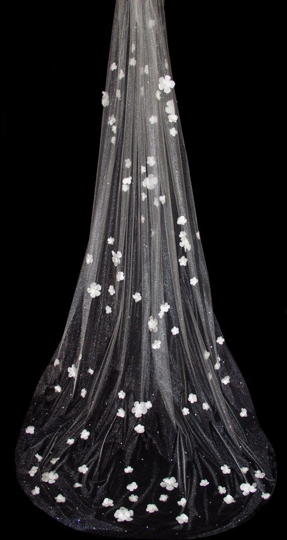 Wedding Veil with Silk Flowers, Cathedral Length (110 inch) Floral Bridal Veil with Crystals, White or Ivory Veil, Style 1021 'Rochele'