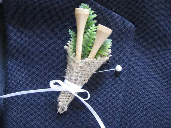 Just for the Golf guy.. Having a county club wedding. Does he and you love golf? Cute boutonniere has 2 real wooded vintage tees with greens