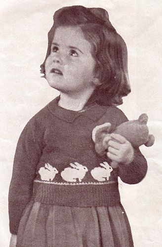 Toddler's jumper or sweater and skirt with bunny rabbit motifs. Free knitting patterns.