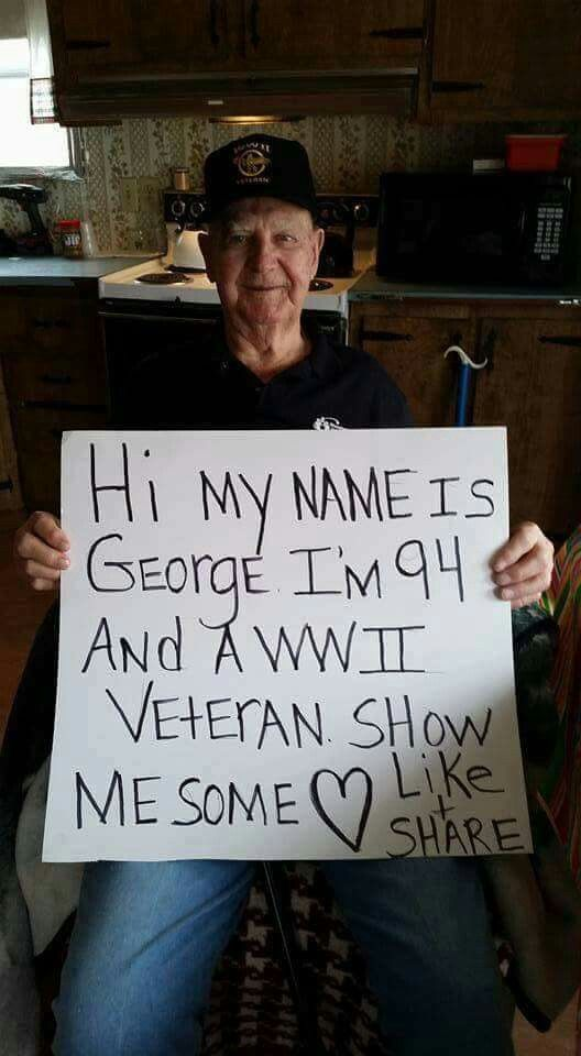 We're Lovin' you George. Thank You for your patriotism and service. God Bless You