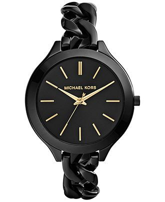 Michael Kors Women's Slim Runway Black Ion-Plated Stainless Steel Link Bracelet…