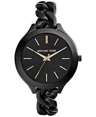 Michael Kors Women's Slim Runway Black Ion-Plated Stainless Steel Link Bracelet Watch 42mm MK3317 - Watches - Jewelry & Watches - Macy's