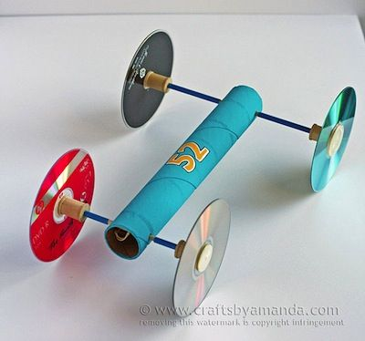 Crafts By Amanda how to make a rubber band car with CD wheels