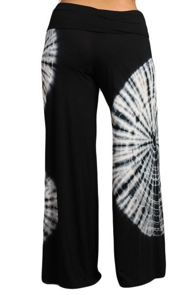 Womens PLUS SIZE Black & White Tie Dye Palazzo Pants