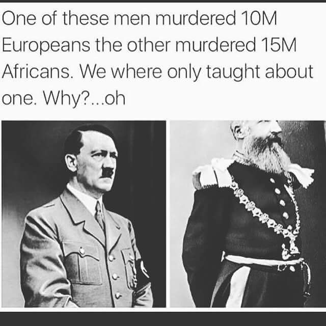 """This is King Leopold II of Belgium. He """"owned"""" the Congo during his reign as the constitutional monarch of Belgium. After several failed colonial attempts in Asia and Africa, he settled on the Congo. He """"bought"""" it and enslaved its people, turning the entire country into his own personal slave plantation. He disguised his business transactions as """"philanthropic"""" and """"scientific"""" efforts under the banner of the International African Society. He used their enslaved labor to extract Congolese…"""