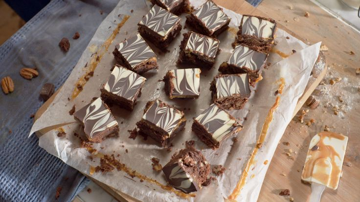Lurpak Gooey Chocolate and Caramel Slice with Marbled chocolate topping