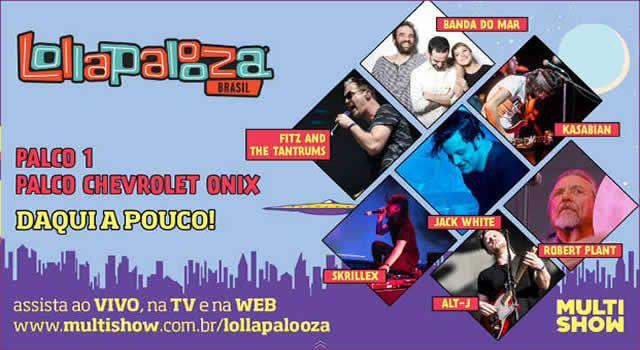 O festival Lollapalooza Brasil deste ano terá transmissão ao vivo pela TV e pela internet. O canal Multishow e o canal Bis vão exibir os principais shows, que ocorrem no sábado, 28, e domingo, 29 de março, no Autódromo de Interlagos, na zona sul da capital paulista.
