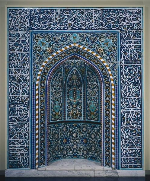 Art of the day prayer niche mihrab early 1600s iran for Mosaic painting meaning