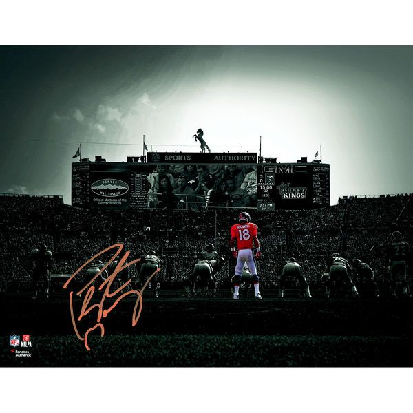 "Autographed Denver Broncos Peyton Manning Fanatics Authentic 11"" x 14"" On Field Spotlight Photograph"