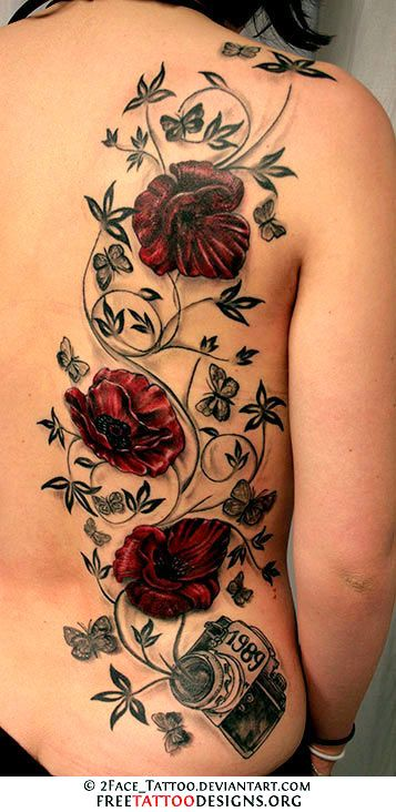 I really like this one. Change the flowers to roses that color. Add color to the butterflies. and different placement. (post note: Gorgeous Tat but as my most re-pinned pin, I'd never get it as it wouldn't be original)