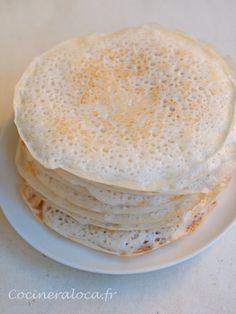 Kallappam (crêpes à la farine de riz et noix de coco)                                                                                                                                                                                 Plus