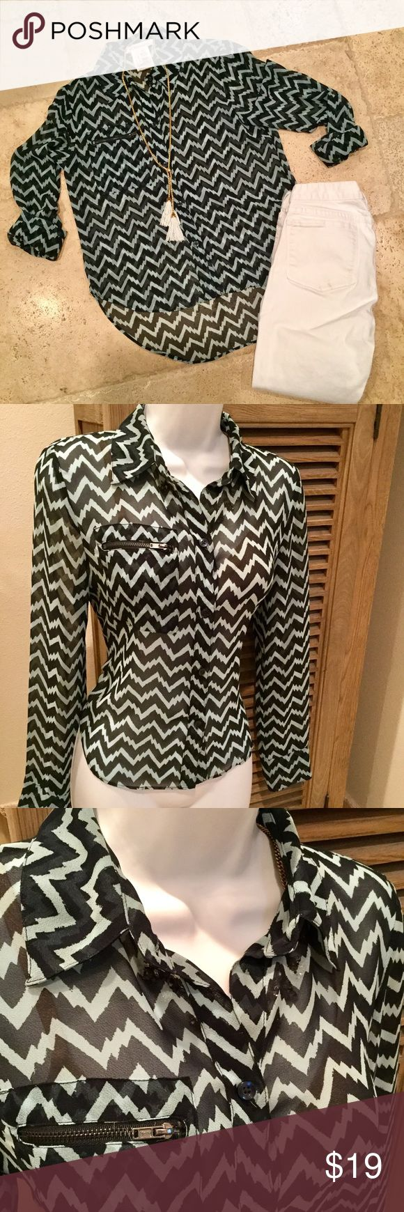 BCBG Chevron Blouse Sheer BCBGeneration Navy and aqua chevron print button up with zipper detail pocket and high/low hem. BCBGeneration Tops Button Down Shirts