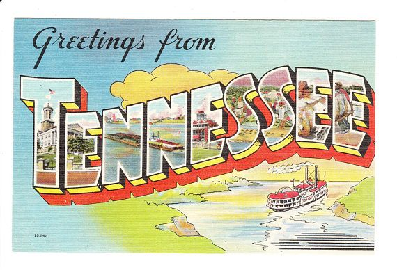 Greetings From Tennessee Vintage Large Letter Postcard Best Life