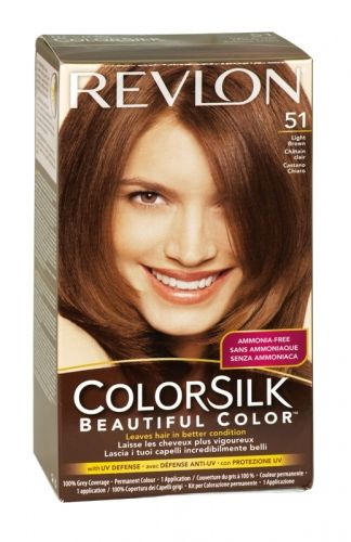 Revlon colorsilk hair colour 51 light brown.  This is my natural color. So light and pretty!
