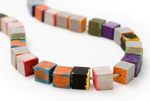 Meredith Turnbull: Pieces, Wooden, Wood Cubes, Meredith Turnbul, Jewelry, Necklace, International Artists