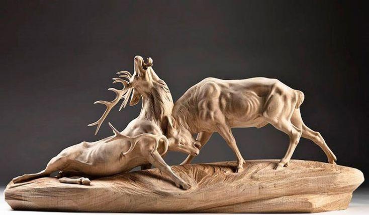 Increibles esculturas de animales hechas en madera! …