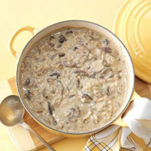 Mushroom & Wild Rice Soup  http://www.tasteofhome.com/recipes/Mushroom---Wild-Rice-Soup