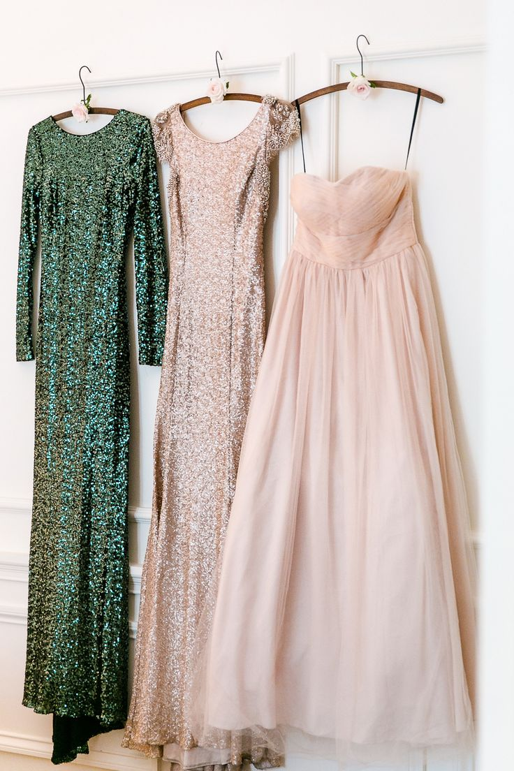 Mismatched bridesmaid dresses - emerald green sequin dress from Badgley Mischka, champagne sequin dress and peach/blush strapless dress from White Runway {Facebook and Instagram: The Wedding Scoop}