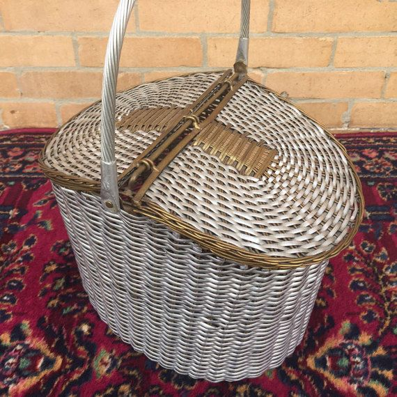 """Vintage Metal Woven Picnic Basket Large Flip top by TocaNycStore Use coupon code """"GraciasToca"""" for 10% off at check our in our three Vintage Etsy stores: https://www.Etsy.com/shop/TocaNycFashion   https://www.Etsy.com/shop/TocaNycJewelry  https://www.etsy.com/shop/TocaNycStore   Follow us: Facebook.com/tocanycstore Instagram: @tocanycstore_tocanyc"""