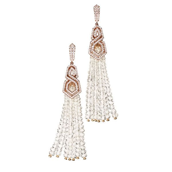 William and Son The London Collection Diamond earrings set in 18ct rose gold with detachable rock crystal quartz tassels £9,250.00