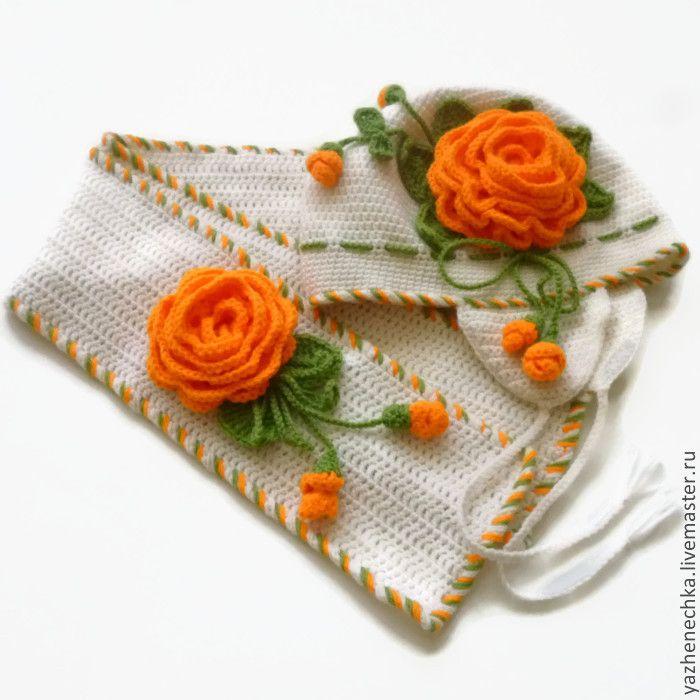 Купить Шапка и шарф из шерсти для девочки. Комплект Оранжевые розы - модная шапка, оригинальный подарок