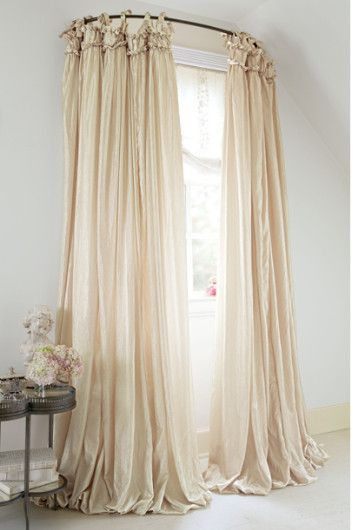 balloon drapery panel curved curtain rodshower