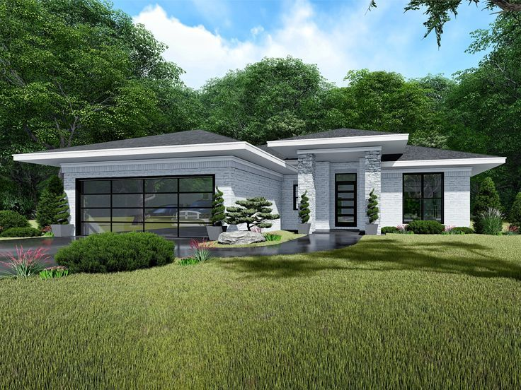 Contemporary Ranch House Plan 074h 0104 Contemporary House Plans Small Contemporary House Plans Small Modern House Plans