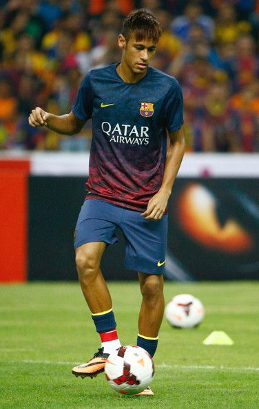 Neymar Barcelona FC warms-up during the friendly match between FC Barcelona and Malaysia at Shah Alam Stadium on August 10, 2013 in Kuala Lu...