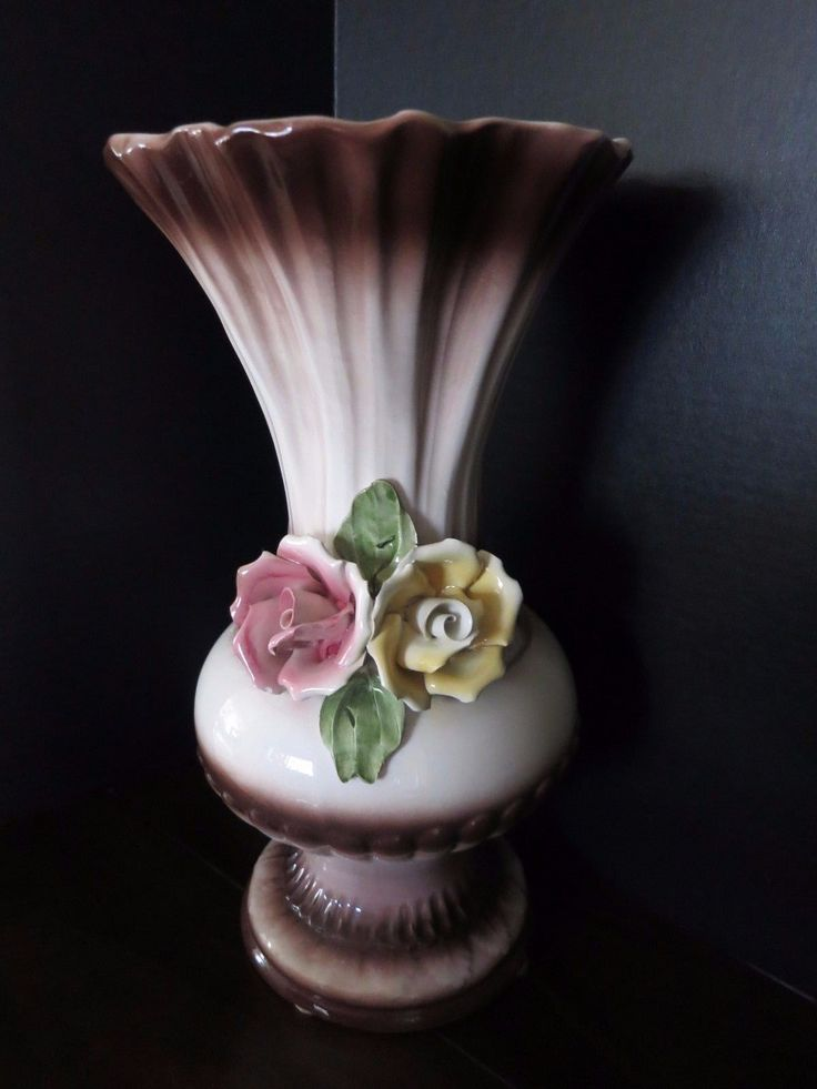 Vintage Capodimonte Porcelain Floral Vase/Urn Tall Made in Italy   eBay