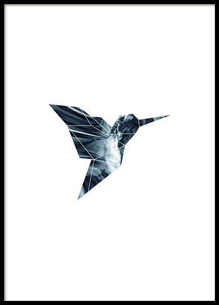 Grafisk plakat/poster med geometrisk fugl i en blå farve
