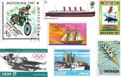 Transport themed postcard